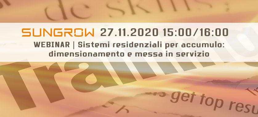 Webinar Sungrow 27 Novembre dedicato ai Sistemi residenziali per accumulo