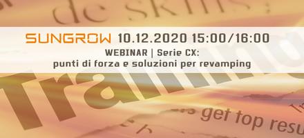 Webinar Sungrow 10 Dicembre dedicato alla serie CX