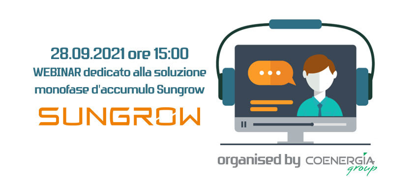 Webinar Sungrow dedicato alla soluzione monofase d'accumulo